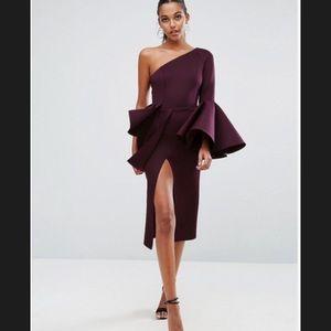 ASOS PREMIUM One Shoulder Sleeve Peplum Midi Dress